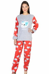 Pijama dama cocolino pufoasa cu imprimeu Pisicuta love Rosu/Gri