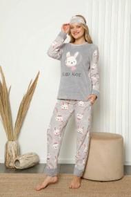 Pijama dama cocolino pufoasa cu imprimeu Iepuras Gri