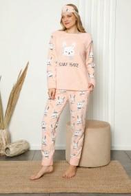 Pijama dama cocolino pufoasa cu imprimeu Iepuras Corai