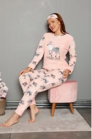 Pijama dama cocolino pufoasa cu imprimeu Reni Corai