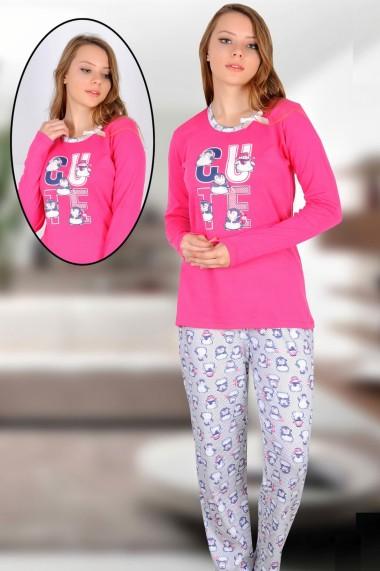 Pijama dama bumbac confortabila cu imprimeu Pinguini Roz
