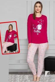 Pijama dama bumbac confortabila cu imprimeu Cute Visiniu