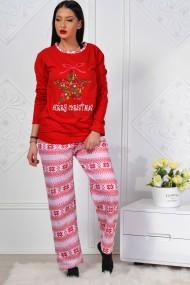 Pijama dama bumbac confortabila cu imprimeu Craciun fericit Rosu
