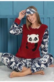 Pijama dama cocolino pufoasa cu imprimeu Ursulet panada