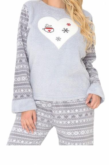 Pijama dama cocolino pufoasa cu imprimeu Inimioara