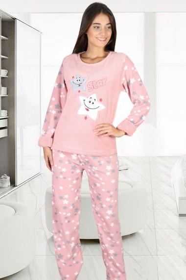 Pijama dama cocolino pufoasa cu imprimeu Star