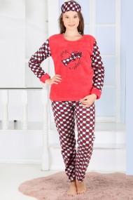 Pijama dama cocolino pufoasa cu imprimeu Fundita love