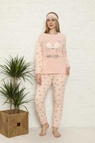 Pijama dama cocolino pufoasa cu imprimeu Pisicuta back sleep