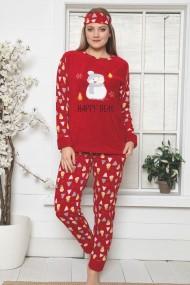 Pijama dama cocolino pufoasa cu imprimeu Om de zapada