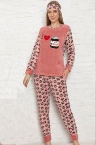 Pijama dama cocolino pufoasa cu imprimeu Love chocolate