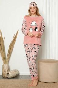Pijama dama cocolino pufoasa cu imprimeu Pinguini fericiti