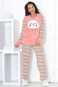 Pijama dama cocolino pufoasa cu imprimeu Dream Roz somon