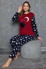 Pijama dama cocolino pufoasa cu imprimeu Luna stele