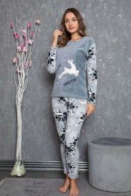 Pijama dama cocolino pufoasa cu imprimeu Reni Craciun
