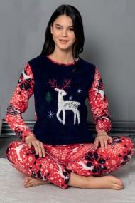 Pijama dama cocolino pufoasa cu imprimeu Ren Craciun