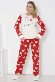 Pijama dama cocolino pufoasa cu imprimeu Cat Rosu Alb