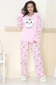 Pijama dama cocolino pufoasa cu imprimeu Pisica Miau Roz deschis