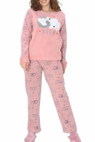 Pijama dama cocolino pufoasa cu imprimeu Meow