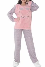Pijama dama cocolino pufoasa cu imprimeu Smiley