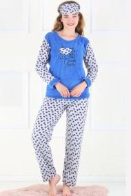 Pijama dama cocolino pufoasa cu imprimeu Sweet heart