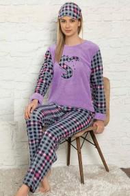 Pijama dama cocolino pufoasa cu imprimeu Sweet love