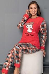 Pijama dama cocolino pufoasa cu imprimeu Pisicuta Meow