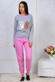 Pijama dama bumbac confortabila cu imprimeu Catelusi Love