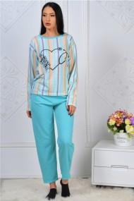 Pijama dama bumbac confortabila cu imprimeu Inimioara