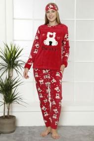 Pijama dama cocolino pufoasa cu imprimeu Happy Bear rosu