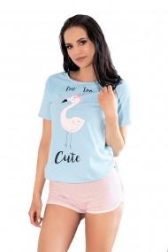 Pijama Cute Flamant, LivCo, Albastru