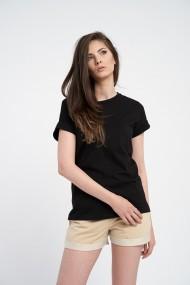 Tricou negru oversize din bumbac organic