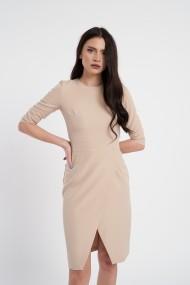 Rochie eleganta crem cu fusta petrecuta