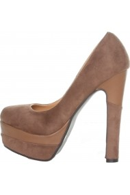 Pantofi cu toc Ana Lublin kaki cu toc inalt si platforma - els