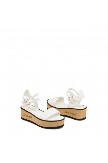 Sandale cu toc Laura Biagiotti 621_NABUK_WHITE