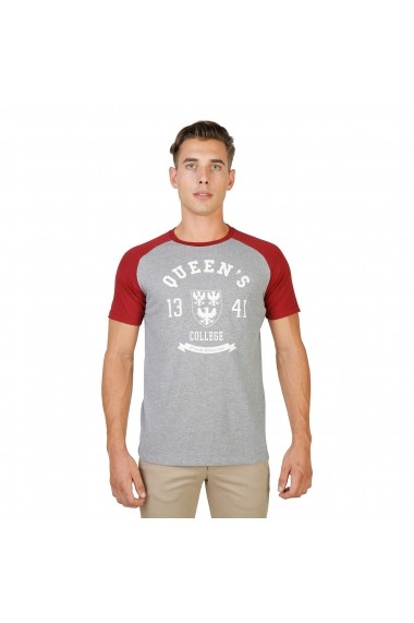 Tricou Oxford University QUEENS-RAGLAN-MM-GREY-RED gri