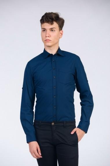 Camasa pentru barbati Be You neagra cu print albastru