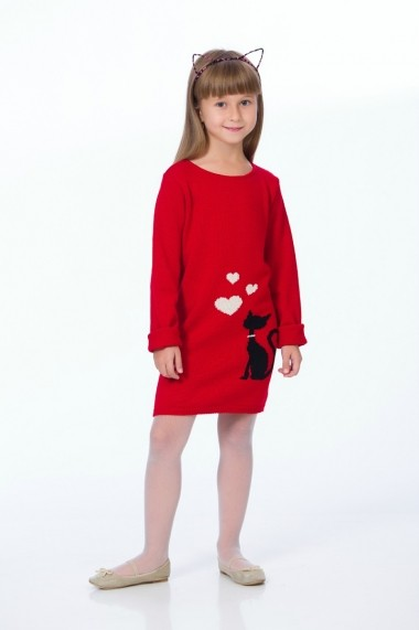 Rochie pentru fete Be You tricotata rosie cu pisica