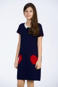 Rochie Be You tricotata bleumarin cu buzunare rosii in forma de inima