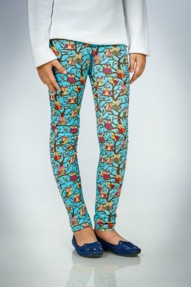 Pantaloni Be You turcoaz cu imprimeu bufnite marca