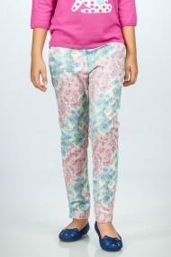 Pantaloni Be You verzi cu imprimeu floral