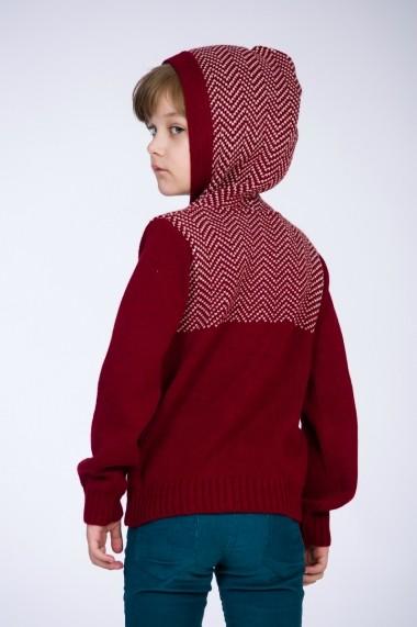 Hanorac Be You tricotat grena cu gluga jaquard