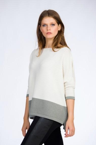 Pulover pentru femei Be You tricotat oversize alb-gri