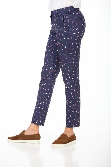 Pantaloni drepti drepti BE YOU 3307PFLO Bleumarin