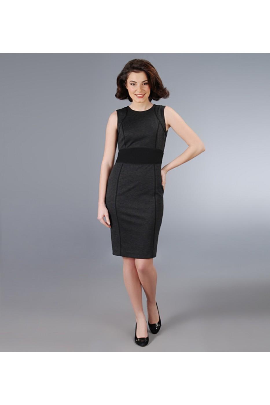 Rochie Yokko Din Stofa Elastica Gri Cu Cordon Negru Negru Fashionup