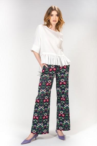 Pantaloni largi dama cu imprimeu floral, RVL