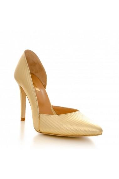 Pantofi cu toc CONDUR by alexandru 1400 auriu striatii