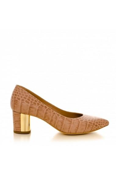 Pantofi cu toc CONDUR by alexandru 1416 croco nude