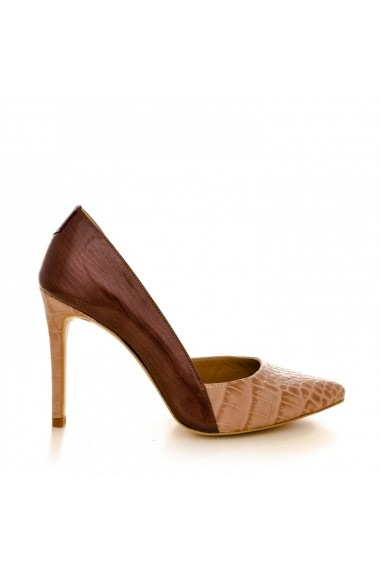 Pantofi cu toc CONDUR by alexandru 1400 croco nude