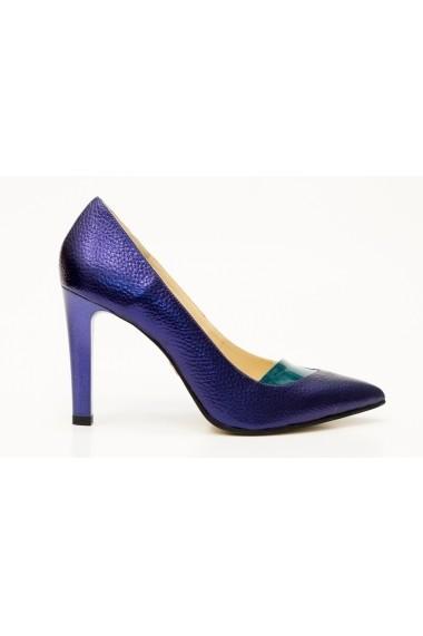 Pantofi cu toc eleganti Thea Visconti P-401/18/949 indigo cu verde