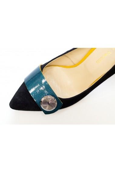 Pantofi cu toc Thea Visconti P-413/18/613 negru cu garnitura turqoise